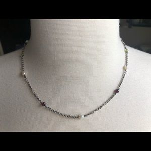 Jewelry - Sterling necklace with garnet, peridot &fwp